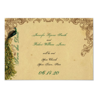 Elegant Vintage Peacock Posh Wedding Save the Date 9 Cm X 13 Cm Invitation Card