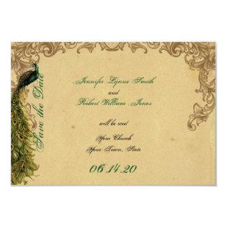 Elegant Vintage Peacock Posh Wedding Save the Date Card