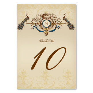 Elegant Vintage Peacock Wedding Table Cards