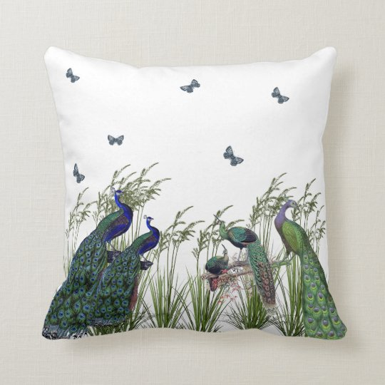 Elegant, Vintage Peacocks and Butterflies, Custom Cushion