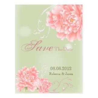 elegant vintage Peonies floral spring savethedate Postcard