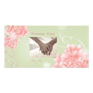 elegant vintage Peonies floral wedding thankyou Photo Card Template
