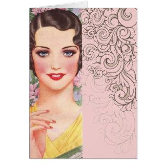 elegant vintage pink fashion paris girl greeting card