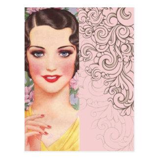 elegant vintage pink fashion paris girl postcard