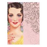 elegant vintage pink fashion paris girl postcards