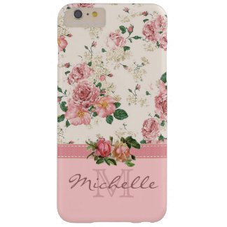 Elegant Vintage Pink Floral Rose Monogram Name Barely There iPhone 6 Plus Case