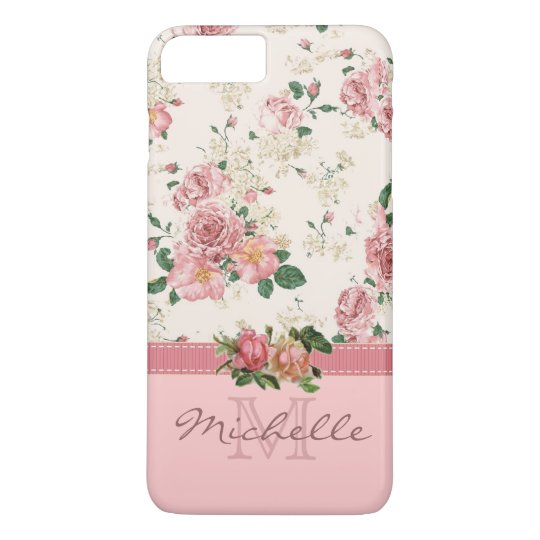 Elegant Vintage Pink Floral Rose Monogram Name iPhone