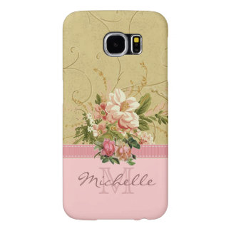 Elegant Vintage Pink Floral Rose Monogram Name Samsung Galaxy S6 Cases