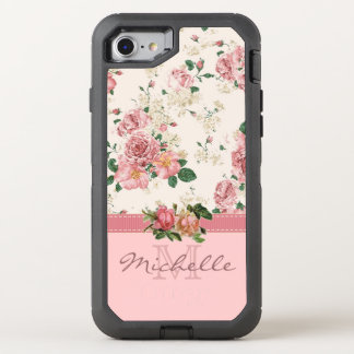 Elegant VIntage Pink Floral with Monogram OtterBox Defender iPhone 7 Case