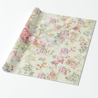 elegant vintage pink pastel floral pattern wrapping paper