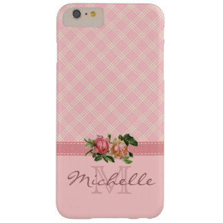 Elegant Vintage Pink Plaid & Floral Monogram Name Barely There iPhone 6 Plus Case