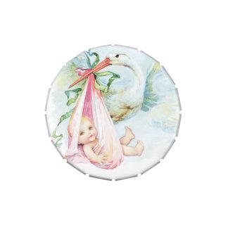 Elegant Vintage Pink Stork Baby Shower Mints Candy Tins