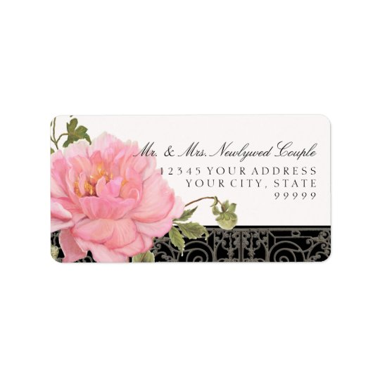 Elegant Vintage Pretty Peony Flower Art Typography Address Label