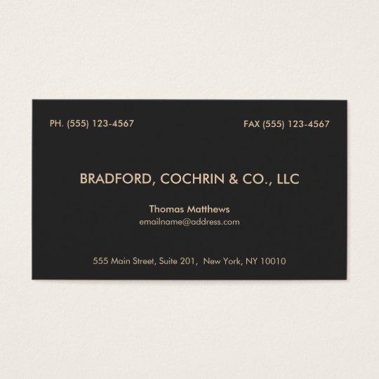 Elegant Vintage Professional Consultant Black Business Card