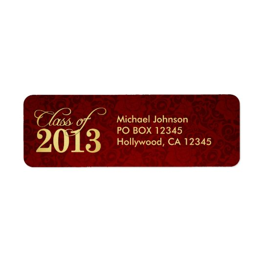 Elegant Vintage Red damask and Gold Class of 2013