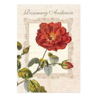 Elegant Vintage Red Rose for Gardener Business Card Template
