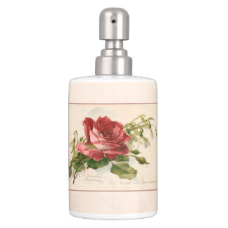 Elegant Vintage Red Rose Soap Dispenser And Toothbrush Holder