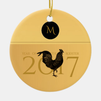 Elegant Vintage Rooster Year 2017 Monogram O Christmas Ornament