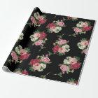 Elegant Vintage Rose Bouquets-Black Background Wrapping Paper