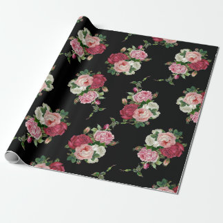 Elegant Vintage Rose Bouquets-Black Background Wrapping Paper