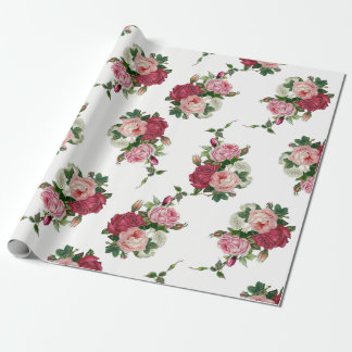 Elegant Vintage Rose Bouquets-White Background Wrapping Paper