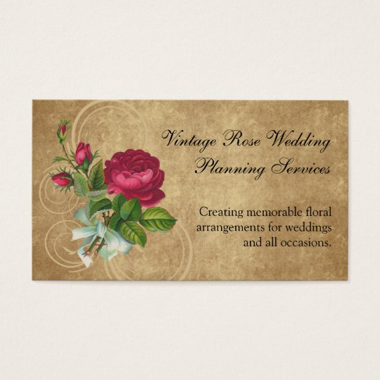 Elegant Vintage Rose, Magenta/Brown Business Card