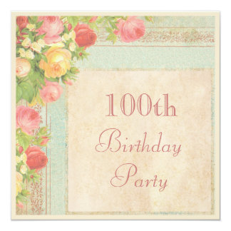 Elegant Vintage Roses 100th Birthday Party 13 Cm X 13 Cm Square Invitation Card