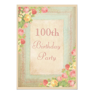 Elegant Vintage Roses 100th Birthday Party 13 Cm X 18 Cm Invitation Card