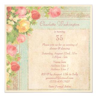 Elegant Vintage Roses 35th Birthday Party Magnetic Invitations