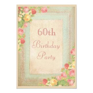 Elegant Vintage Roses 60th Birthday Party 13 Cm X 18 Cm Invitation Card
