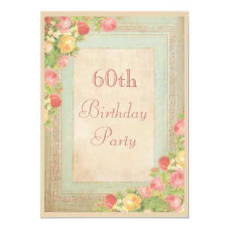 Elegant Vintage Roses 60th Birthday Party Card