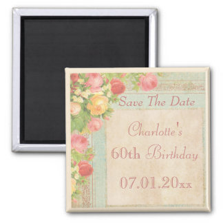 Elegant Vintage Roses 60th Birthday Save The Date Square Magnet