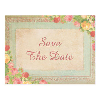 Elegant Vintage Roses 65th Save The Date Postcard