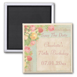 Elegant Vintage Roses 75th Birthday Save The Date Square Magnet