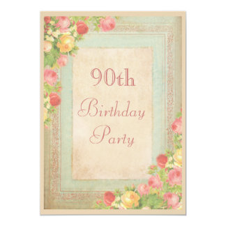 Elegant Vintage Roses 90th Birthday Party 13 Cm X 18 Cm Invitation Card