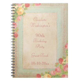 Elegant Vintage Roses 90th Birthday Party Notebooks