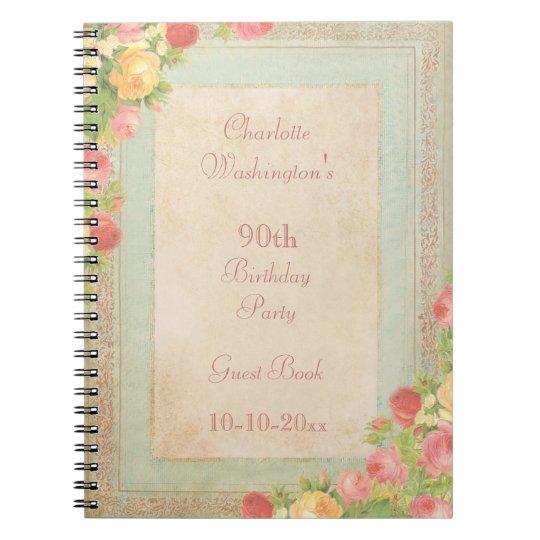 Elegant Vintage Roses 90th Birthday Party Notebooks