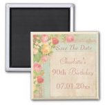 Elegant Vintage Roses 90th Birthday Save The Date Square Magnet