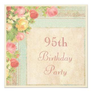 Elegant Vintage Roses 95th Birthday Party Personalized Invitation