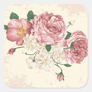 Elegant Vintage Roses Square Sticker