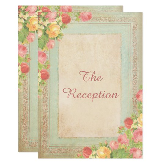 Elegant Vintage Roses Wedding Reception Card