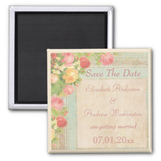Elegant Vintage Roses Wedding Save The Date Square Magnet