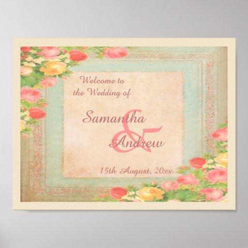 Elegant Vintage Roses Wedding Welcome Poster