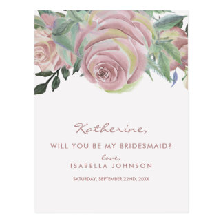 Elegant Vintage Roses | Will You Be My Bridesmaid? Postcard