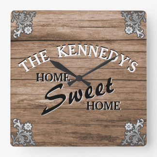 Elegant Vintage Rustic Wood Custom Family Name Square Wall Clock