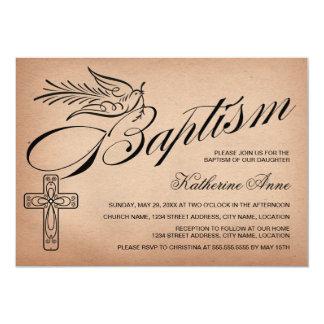 "Elegant Vintage Script Cross and Dove Baptism 5"" X 7"" Invitation Card"