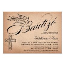 Elegant Vintage Script Cross and Dove Bautizó 5x7 Paper Invitation Card