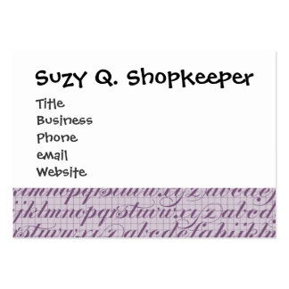 Elegant Vintage Script Typography Lettering Purple Pack Of Chubby Business Cards