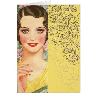 elegant vintage spring fashion paris girl greeting card
