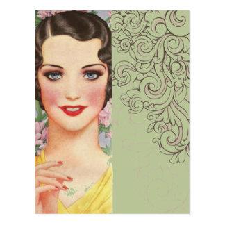 elegant vintage spring fashion paris girl postcard